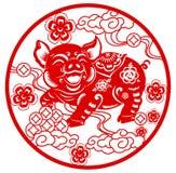 Le papier traditionnel chinois de nouvelle année a coupé l'année du porc illustration libre de droits