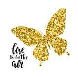 Le papillon éclatant avec amour des textes est dans la conception tirée par la main de calligraphie d'air et de lettrage de stylo illustration libre de droits