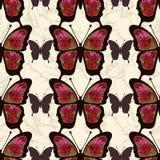 Le papillon abstrait avec des ornements des roses fleurit le modèle sans couture Fond dans le boho de style, hippie, de Bohème Illustration de Vecteur