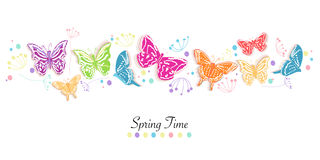 Le papillon et les fleurs soustraient le fond de vecteur de bannière de printemps Photos libres de droits
