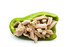 Paprika Vert rempli de la viande Photos libres de droits