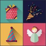Le paquet d'icône de nouvelle année a inclus des confettis de Noël, cadeau, chapeau, ange Photos libres de droits