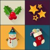 Le paquet d'icône de nouvelle année a inclus l'étoile de Noël, baie de houx, bonhomme de neige, chaussette Images stock