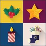 Le paquet d'icône de nouvelle année a inclus la baie de houx de Noël, étoile, chaussette, bougie Images stock