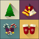 Le paquet d'icône de nouvelle année a inclus la cloche de Noël, l'arbre, la sucrerie et les mitaines Image stock