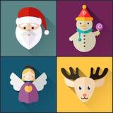 Le paquet d'icône de nouvelle année a inclus le bonhomme de neige de Noël, ange, Santa, cerf commun Photo libre de droits