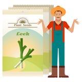 Le paquet du poireau sème l'icône illustration libre de droits