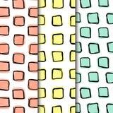 Le paquet sans couture de modèle, formes carrées de griffonnage a rayé dans 3 grilles direrent illustration stock
