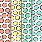 Le paquet sans couture de modèle, formes de cercle de griffonnage a rayé dans 3 grilles direrent illustration stock