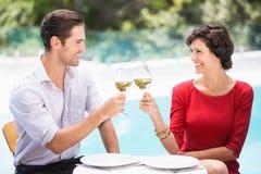 Le par som rostar vitt vin Arkivbilder