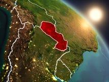Le Paraguay de l'espace pendant le lever de soleil Photographie stock libre de droits
