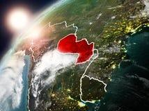 Le Paraguay sur terre de planète dans le coucher du soleil Photos libres de droits