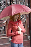 Le parapluie rouge Images stock