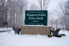 Le parc d'état de chutes du Niagara signent dedans l'hiver image libre de droits