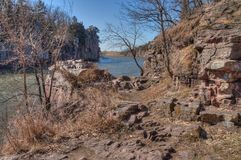 Le parc d'état de palissades est dans le Dakota du Sud près de la ville des mansardes photos stock