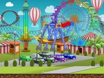 Le parc d'attractions sans couture de bande dessinée, paysage d'été, dirigent le fond éternel avec des couches séparées Images stock