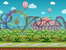 Le parc d'attractions sans couture de bande dessinée, paysage d'été, dirigent le fond éternel avec des couches séparées Image libre de droits