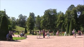 Le parc de fontaine de Petergof, colline d'échiquier banque de vidéos
