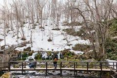 Le parc de Fukidashi a été fait au secteur cette eau naturelle à partir du Mt Yotei Photos stock