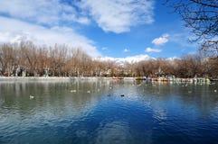 Le parc de Zong-jiao-lu-kang de ressort se reflètent dans l'eau Image stock