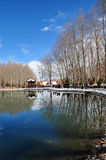 Le parc de Zong-jiao-lu-kang de ressort se reflètent dans l'eau Photos stock