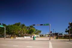 Le parc du centre de Miami Bayfront se préparant à de nouvelles années font la fête la célébrité Image libre de droits