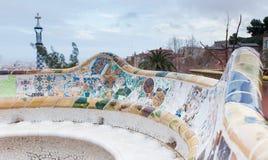 Le parc Guell de Gaudi à Barcelone, Espagne. Photographie stock libre de droits