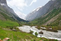 Le parc national d'Archa d'aile du nez dans les montagnes de Tian Shan de Bichkek Kirghizistan Image stock