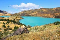Le parc Torres del Paine - l'eau vert d'émeraude Image libre de droits