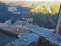 Le pareti della campagna di Pitigliano, dell'Italia e della Toscana Fotografia Stock