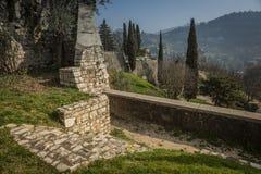 Le pareti di vecchio castello a Brescia Immagine Stock Libera da Diritti