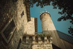 Le pareti di vecchio castello a Brescia Immagine Stock