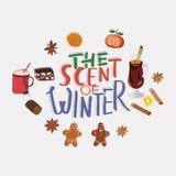 Le parfum de l'illustration de lettrage d'hiver illustration stock