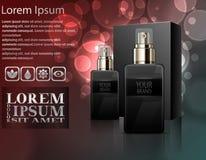 Le parfum des hommes avec la boîte de paquet Images libres de droits