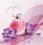 Le parfum rose du ` s de femmes de bouteille avec le ressort fleurit des crocus Vecteur Image libre de droits