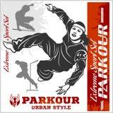 Le parkour de fille saute - illustration et emblème - l'ensemble d'images de vecteur Photographie stock libre de droits