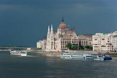 Le Parlement hongrois à Budapest Photographie stock libre de droits
