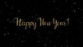 Le parole del buon anno dalle particelle dell'oro formate su una festa hanno animato il fondo archivi video