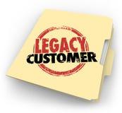 Le parole del cliente dell'eredità hanno timbrato la cartella Loyal Buyer Client File royalty illustrazione gratis