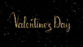 Le parole del giorno di biglietti di S. Valentino dalle particelle dell'oro formate su una festa hanno animato il fondo stock footage
