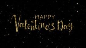 Le parole del giorno di biglietti di S. Valentino dalle particelle dell'oro formate su una festa hanno animato il fondo video d archivio