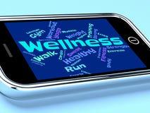 Le parole di benessere indica il controllo sanitario e la sanità Fotografie Stock Libere da Diritti