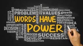 Le parole hanno potere con la mano relativa della nuvola di parola che attinge il blackbo Fotografia Stock Libera da Diritti