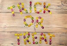 Le parole & il x22; trucco o treat& x22; delle caramelle Fotografia Stock