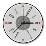 Non metta mai fuori finché domani tema dell'orologio Fotografie Stock Libere da Diritti