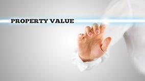 Le parole - valore di una proprietà - su un'interfaccia virtuale Immagine Stock