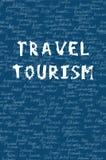 Le parole viaggiano e turismo sul modello senza cuciture Lettere di colore e un nome bianchi del fondo di 195 contee sul mondo Ti royalty illustrazione gratis