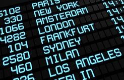 Destinazioni dell'internazionale del bordo dell'aeroporto Fotografia Stock Libera da Diritti
