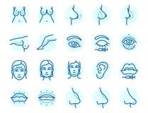 Le parti del corpo della chirurgia plastica affrontano la procedura infographic di salute di bellezza del trattamento della pelle illustrazione di stock
