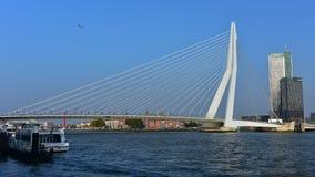 Le parti di collegamento lunghe 802m di nord e sud di Erasmus Bridge di Rotterdam Fotografia Stock